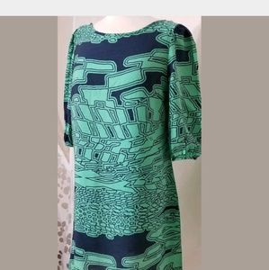 Needle & Thread Anthropologie Blue Green Dress